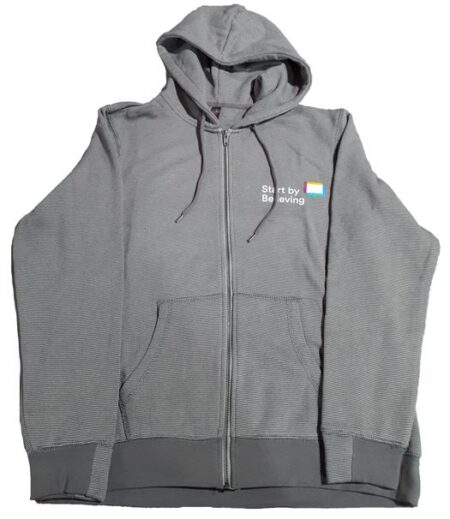 Grey Striped Hoodie with Zip